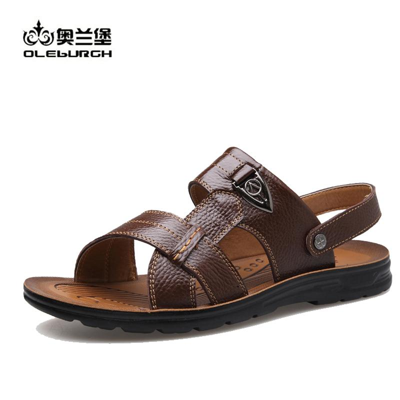 OLEBURGH Brand Men Leather Summer Beach Sandals Shoes Breathable Genuine Leather Shoes Men Casual Slippers Plus Size 38-50