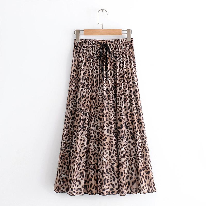 a5438ee1e1 Compre Mujeres Con Estilo Estampado De Leopardo Falda Plisada Serpiente Faldas  Mujer Lazo Lazo Elástico De La Cintura Casual Mediados De Pantorrilla Faldas  ...