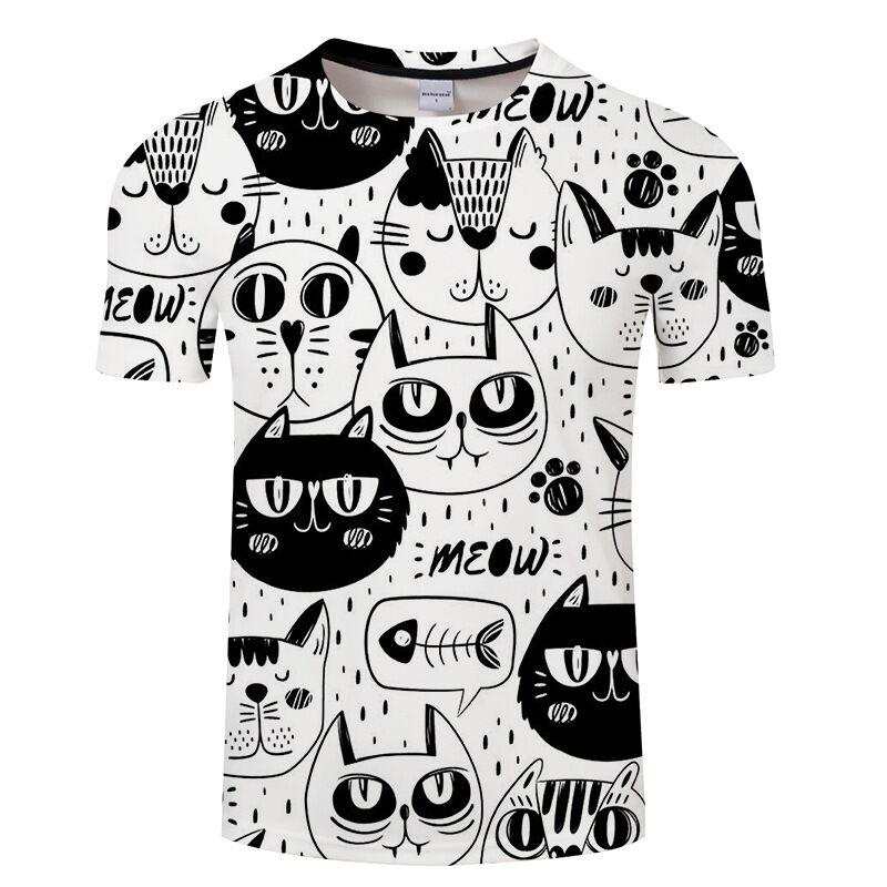 2019 Fashion Women Summer Blouse Cat Head Cartoon Print Blouse O-neck Short Sleeve Casual Loose Blouses Female Top Tees 2xl Attractive Fashion Blouses & Shirts