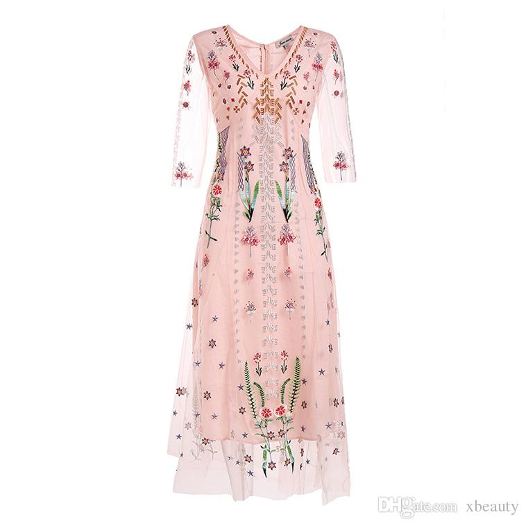 fcb1416770f18 Women's 2019 Runway Dresses O Neck 3/4 Sleeves Embroidery Floral Sexy Tulle  Laid Over Casual Designer Dresses