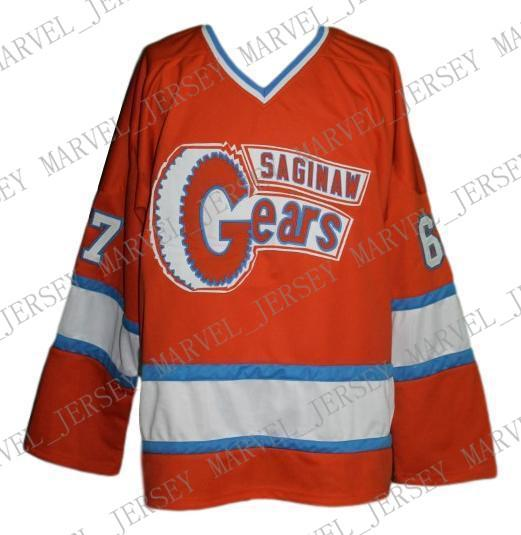 Custom Saginaw Gears Retro Hockey Jersey 1973 Orange Personalized stitch any number any name Mens Hockey Jersey XS-5XL