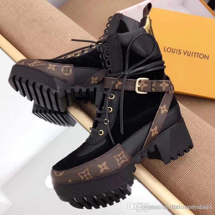 3fa9425a0147 Women Boots Winter Thick Sole Laureate Platform Desert Boot Winter Lady  Shoes Boots Luxury 1A41Q7 Genuine Leather Casual Shoes Bottes Femmes Biker  Boots ...