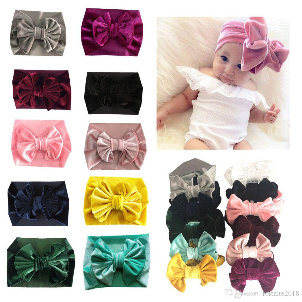 Gold Velvet Headband Toddler Kids Baby Girl Hairband Solid Cloth Bow Turban  Knot Head Wrap Hairband Stretch Girls HeadbandsHair Accessories For Tweens  Goody ... 24035a379d1