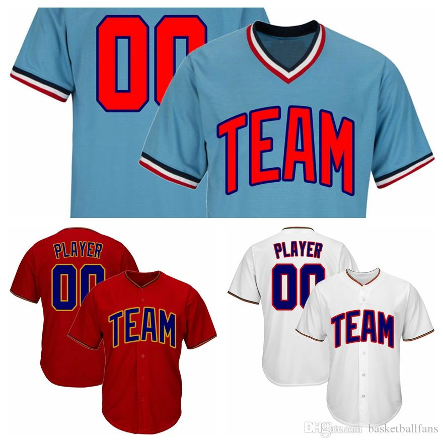 official photos a891b b7954 Custom Baseball Jersey With Button or Pullover Red Blue White Any Team any  Number and Name Size S-3X 4X 5X 6X