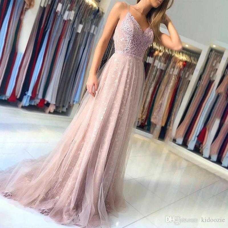 Sexy Open Back Lace Pearsl Mermaid Evening Dress 2020 Designer Spaghetti Straps Floor Length Lady Prom Gowns Special Occasion Wear