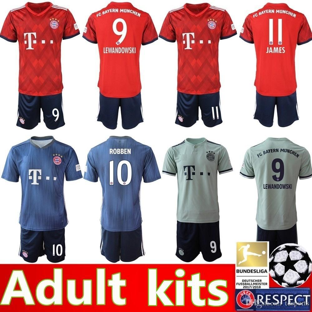 Compre 2018 2019 Kit De Camiseta De Fútbol Bayern Munich 9 LEWANDOWSKI 11  JAMES 25 MULLER 6 THIAGO 17 BOATENG Uniformes De Camiseta De Fútbol A   14.22 Del ... a82da4c03d319