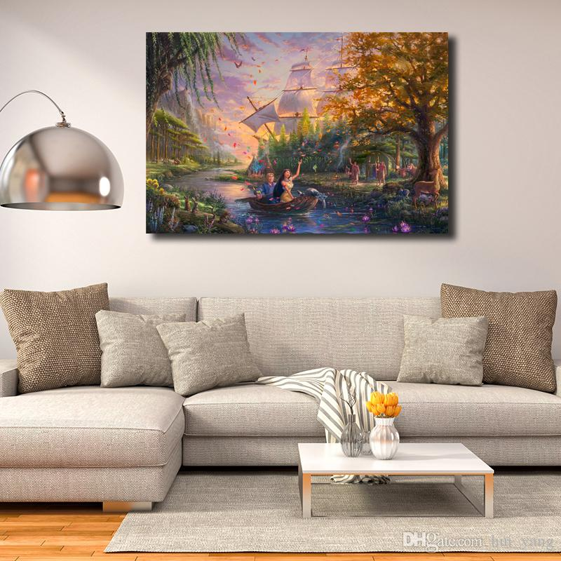 Acquista Thomas Kinkade Pocahontas HD Canvas Prints Wall Art ...