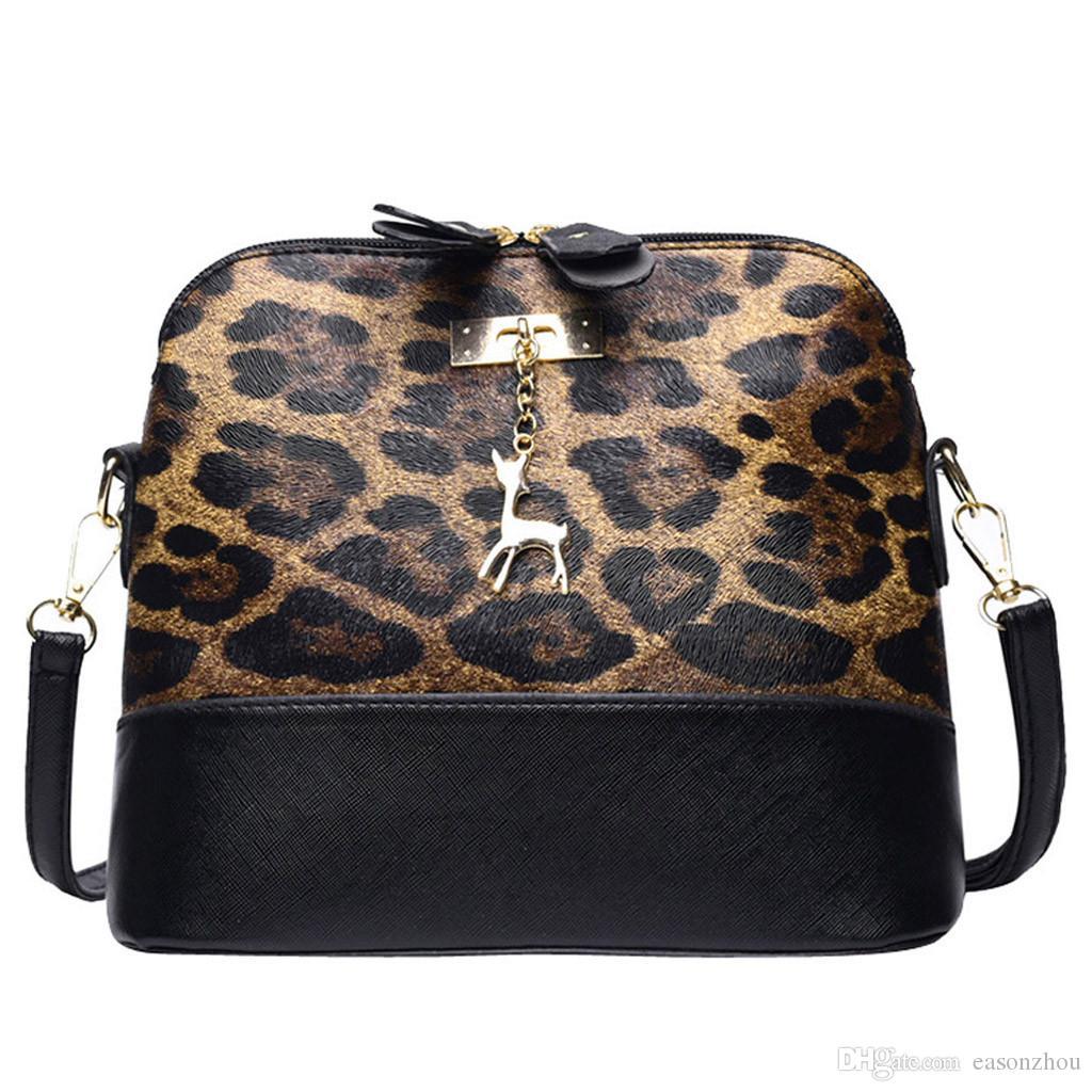 a22ac44c32 2019 New Women Leopard Print Crossbody Bag Purse Money Bag Fawn Pendant  Shell Shoulder Bags Messenger Bag Bolsas Feminina Cute Purses Rosetti  Handbags From ...