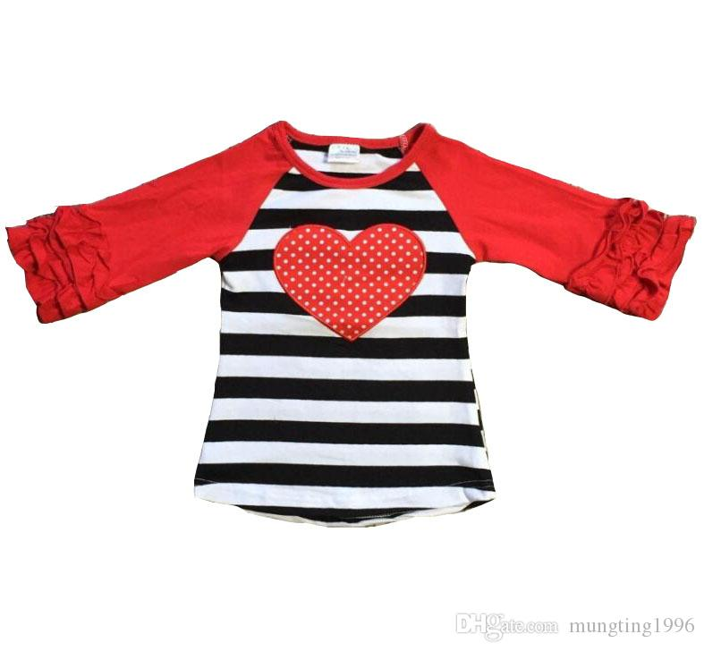 cff35497e31 2019 Wholesale Baby Girls Clothes Raglan Top V Day Raglan Girls Black  Stripes Heart Print Top Kids Icing Ruffle Sleeve Valentine Top From  Mungting1996
