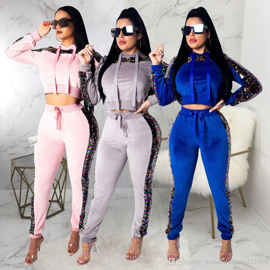 e0b1454dea688 2019 Velvet Tracksuit 2 Two Piece Set Women Clothes Sequin Crop Top+Pants  Sweat Suit Pink Outfits Velour Matching Sets Women Velvet Tracksuit Women  ...