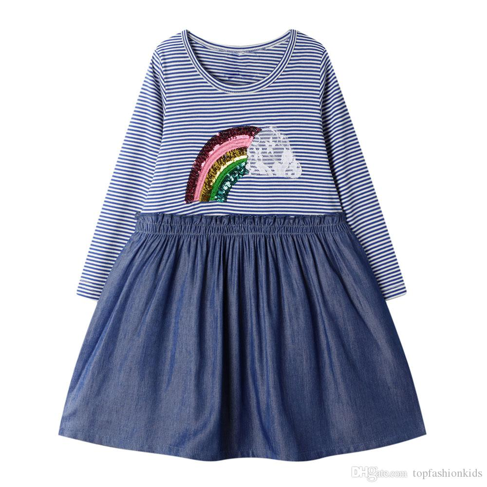 Girls Dress Long Sleeves Baby Dresses for Girls Cartoon Autumn Girl Clothing Cute baby Princess New 2019 Kids Dress