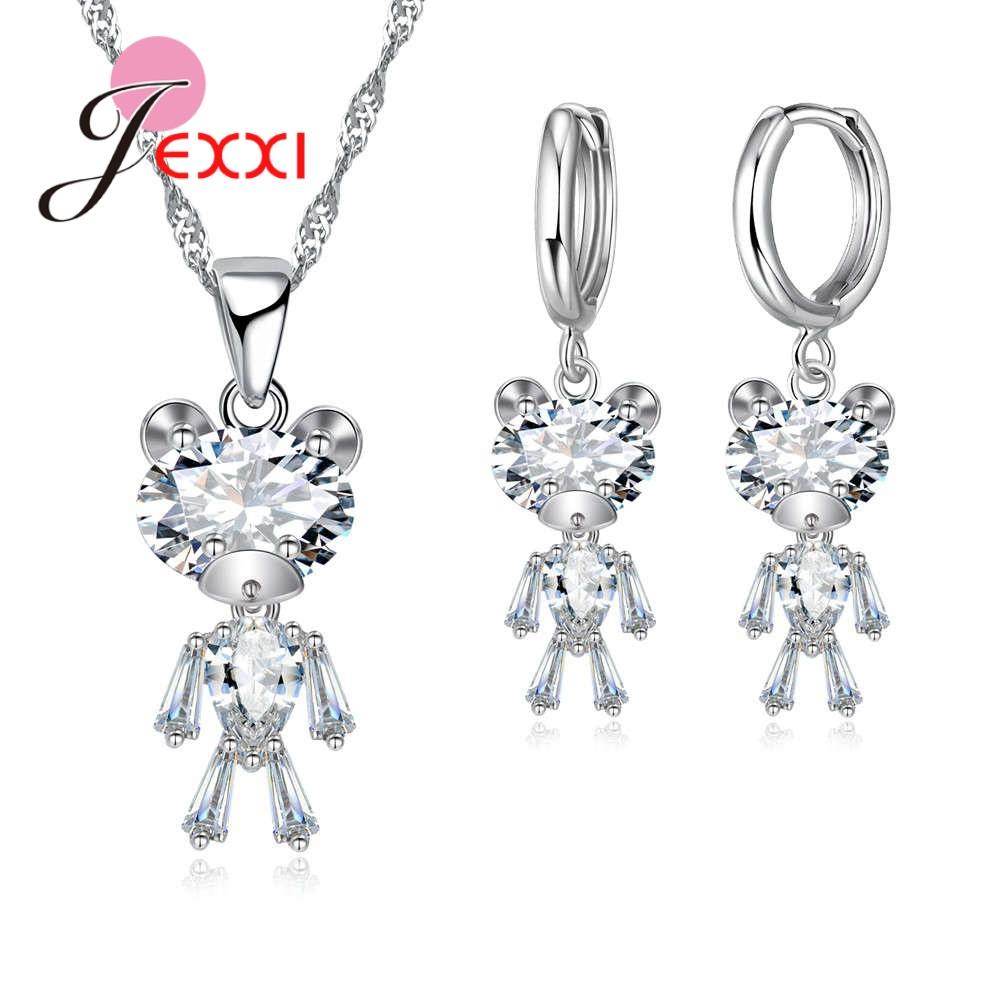 2019 Jexxi Most Popular Fashion Simple Cubic Zirconia Bear S90 Silver  Earring Pendant Necklace Jewelry Sets For Women Gift From Fenkbao 8e1fd4c33b42