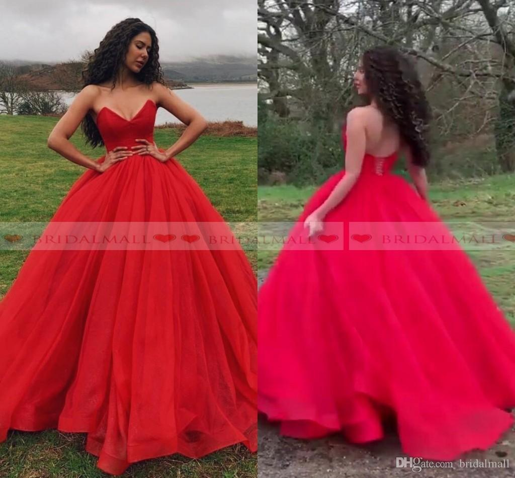 3e1dc99e9f6 Cheap 2019 Sweetheart Neck Puffy Red Tulle Long Prom Dresses Sweet 16 Party  Gowns Lace Up Back Quinceanera Dresses Pageant Custom Made Formal Dresses  2015 ...