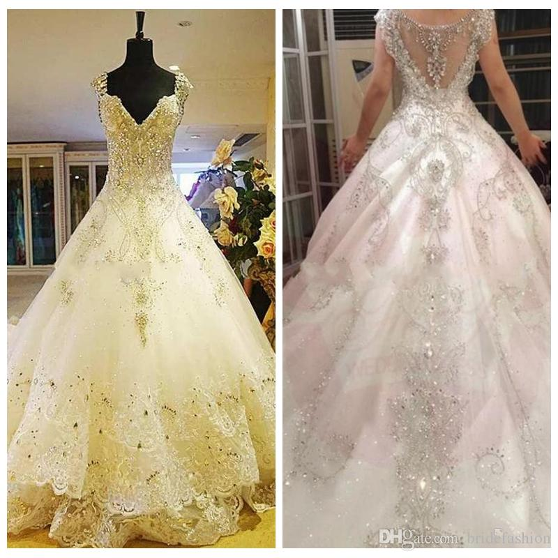 6e050741a490 Discount Junoesque A Line Wedding Dresses V Neck Applique Beads Cathedral  Train Tulle Lace Dresses Zipper Wedding Gowns Robe De Mariee End Of Line  Wedding ...