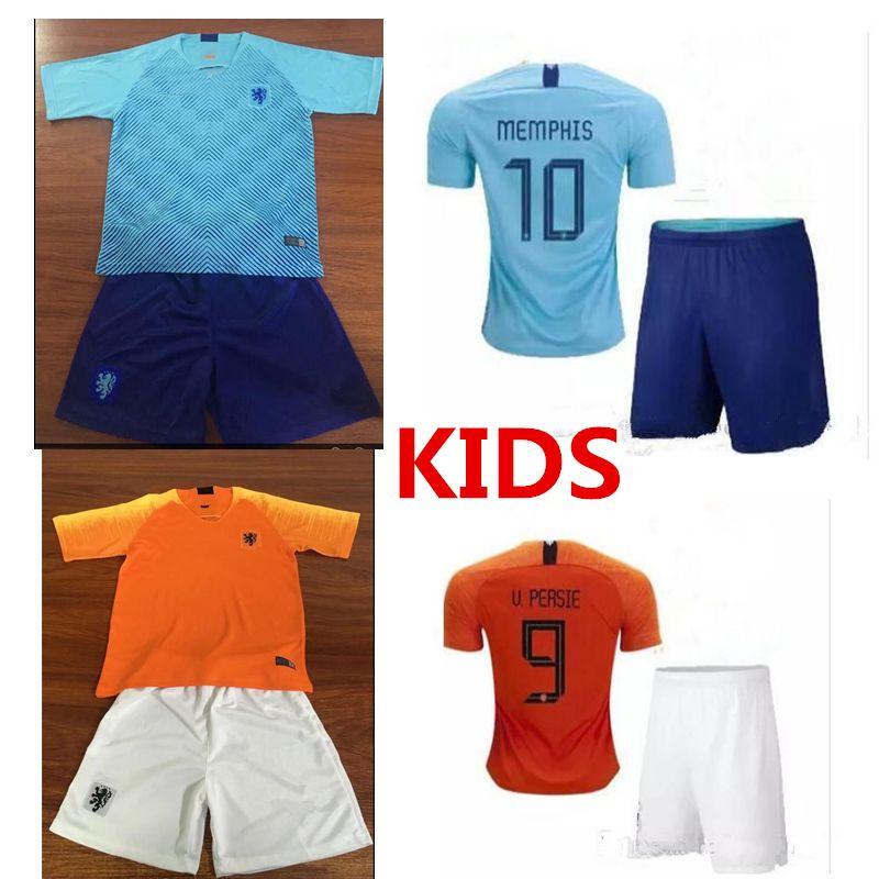 low priced dfffa ea89e kids kit 2018 new Nederland soccer jersey 1819 home orange netherlands  HOLLAND ROBBEN SNEIJDER V.Persie Dutch away football shirts