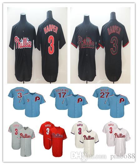 superior quality b031b a5d8e 2019 Men 100%embroidery Phillies Jersey 3 Bryce Harper Philadelphia 17 Rhys  Hoskins 27 Aaron Nola Baseball Jersey Flex Cool Base Retro Mesh