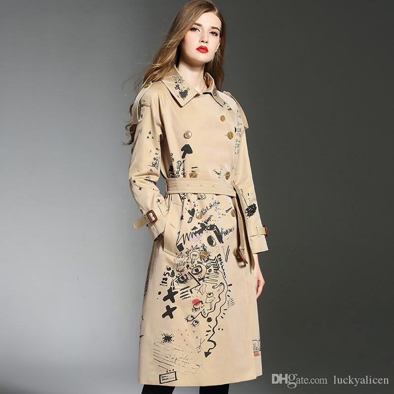 55a54d720 2019 Popule Women S Fashion Brand Coat Khaki Long Trench Coat Spring ...