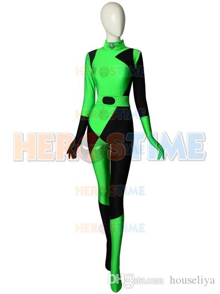 Shego Costume Female Halloween Bodysuit Lycra Spandex Zentai Suit Super  Villain Kim Possible Shego Cosplay Costumes Custom Made