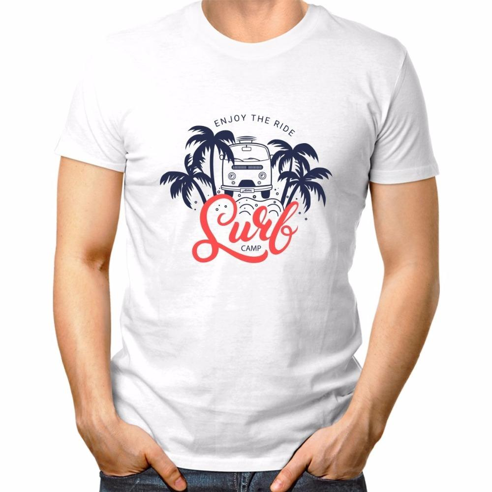 T-shirt estiva O Neck T Shirt Moda 2019 Abito T Shirt Miami Florida Beach Goditi The Ride Surfer Camp White Tee Shirts