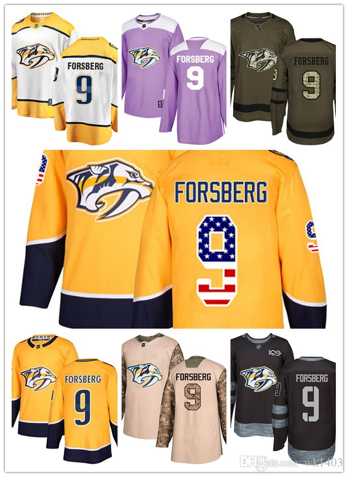 separation shoes a82e9 6283d Nashville Predators jerseys #9 Filip Forsberg Jersey ice hockey men women  youth gold yellow white home Breakaway Stiched authentic Jerseys