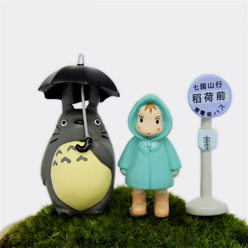 Hayao Miyazaki Umbrella Totoro Model Toy Micro Landscape Raincoat Xiaomei Moss Doll Small Cute Exquisite Factory Direct 4 5wj I1