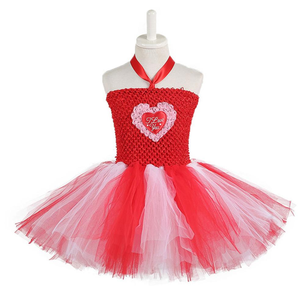 Red White Queen of Hearts Fancy Dress Costume Valentine's Day Knee Length Heart Pattern Tutu Dress Princess for Girls 1-14