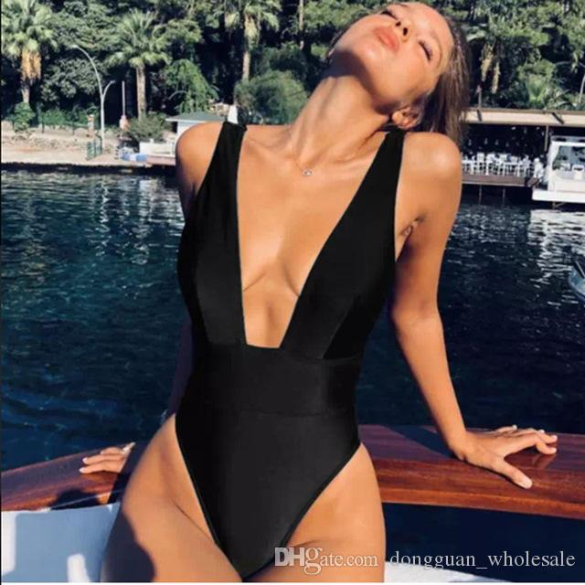 1a2b2929923d5 2019 High Cut Sexy High Waisted Bathing Suit Women Swimsuit One Piece Swim  Suit Solid Red White Black Swimwear 2019 Push Up Monokini From  Dongguan wholesale ...