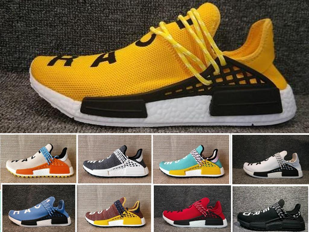 the latest 8f2fb 90084 HOT Pharrell Williams X NMD Human Race Yellow Black White NMD men and women  Designer Casual shoes Boots 36-46