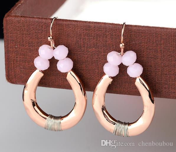 Gold-coloured Elliptical Electroplating Process for Girl Earrings Powder  Series Hook type Dangle & Chandelier