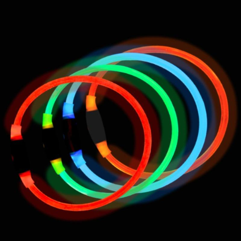 LED Dog Collar Rubber Collar Light-emitting LED Luminous Night Safety for Dogs Cats Pet Supplies