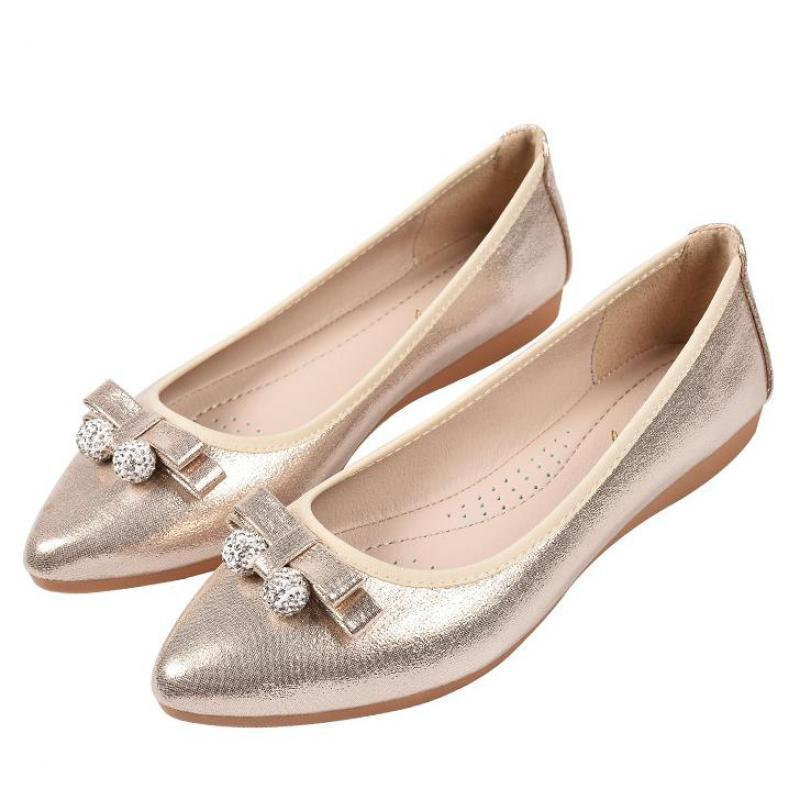 9333a347f3b6a Gold Silver Flat Rhinestone Shoes Women Casual Bow Crystal Pointed Toe Slip  On Ladies Loafers Flats Women Soft Comfortable Shoes Formal Shoes For Men  Work ...