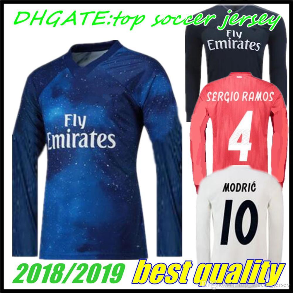 2018 2019 Top Azul Real Madrid Manga Larga Rojo Fútbol Camisetas Uniformes  Local Visitante BALE RAMOS ISCO MODRIC 18 19 Camisas Por Top soccer jersey 30a910aecc5c0