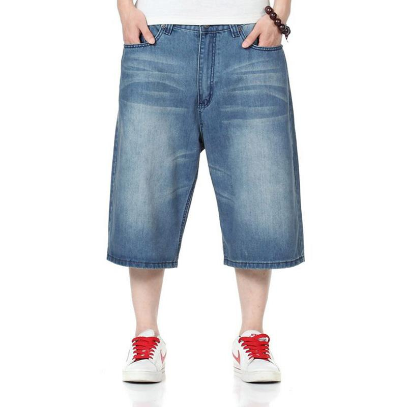 30-46 Mens Loose Baggy Denim Shorts Jeans Hip Hop Half Pants Cargo SkateBoard Pants Oversize Plus Summer 6Colors
