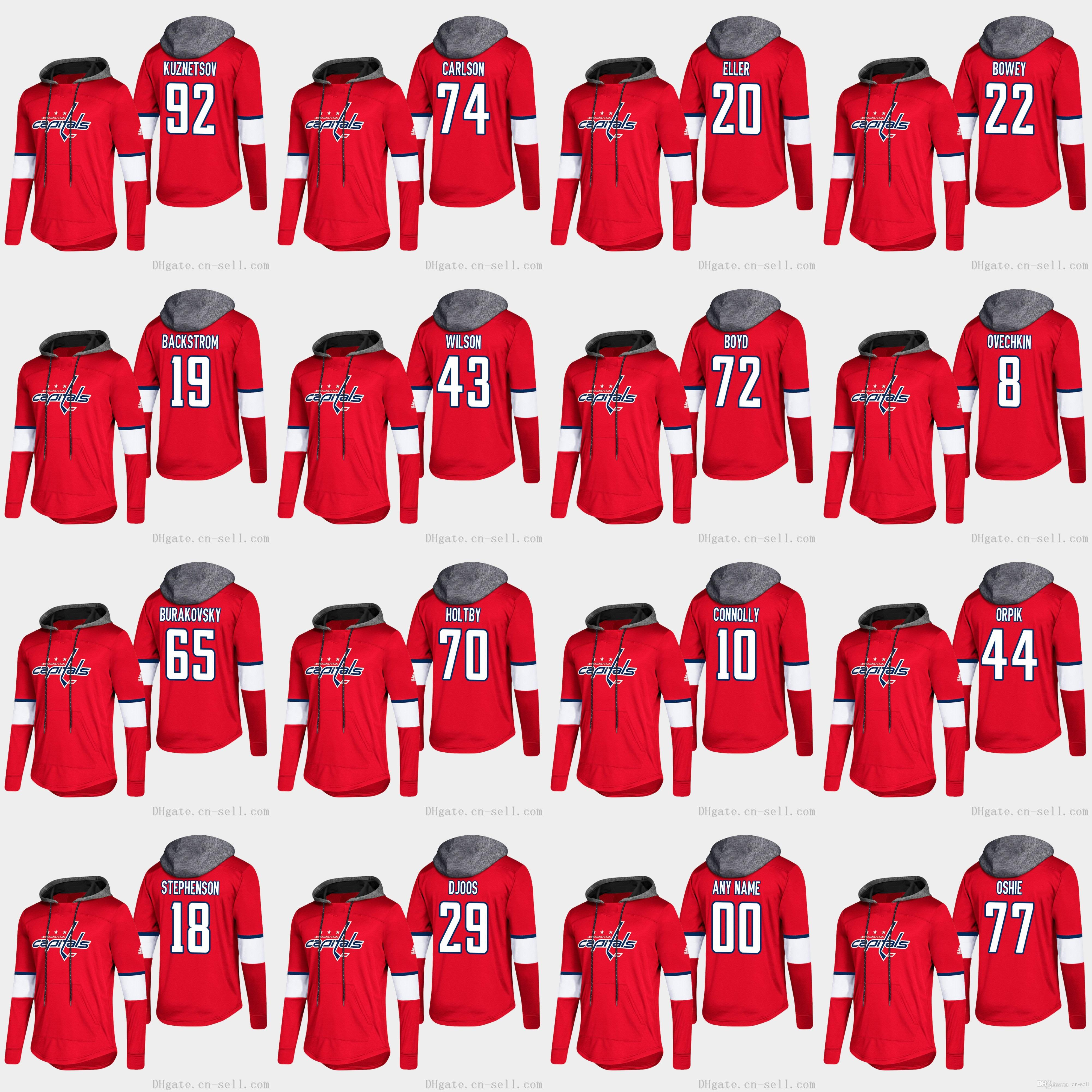 free shipping f604f c1323 Alex Ovechkin Washington Capitals Braden Holtby T.J. Oshie Nicklas  Backstrom Tom Wilson Andre Burakovsky Long Sleeve T-shirt Hoodies Jersey