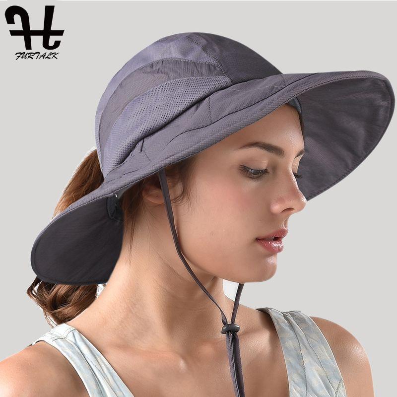 7b68b167ce569 FURTALK Summer Sun Hats For Women Wide Brim Safari Ponytail Hat Waterproof  UPF 50+ Sun Protection Hunting Fishing Hiking Hats Trilby Hat Top Hats From  ...