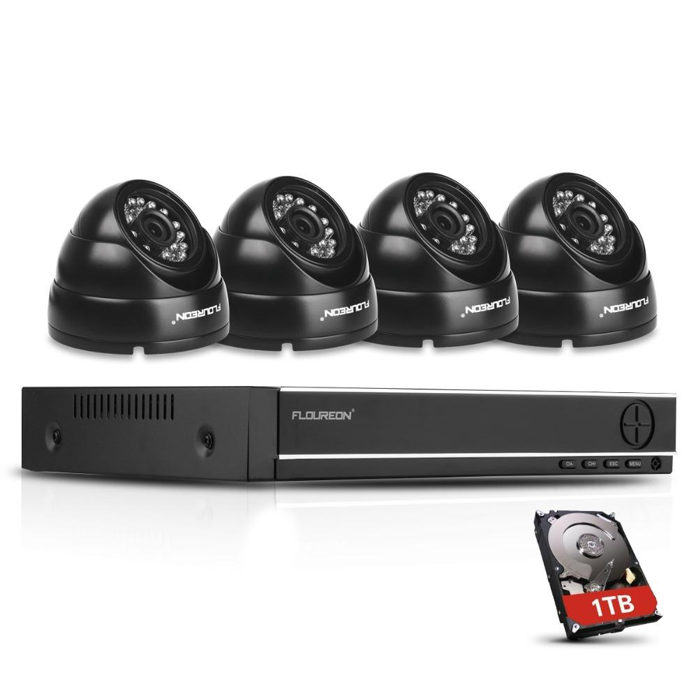 FLOUREON 8CH 1080N CCTV 5 IN 1 TVI AHD DVR 4 X Dome 2000TVL 1 3MP  Waterproof Camera with 1TB HDD Security Kit