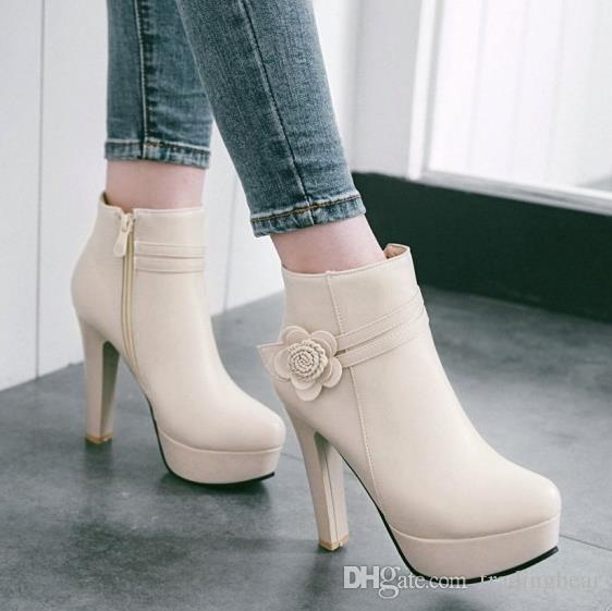 boyut 34-42 43 pembe beyaz çiçek düğün botları rahat tıknaz topuk ayak bileği patik lüks tasarımcı kadın botları