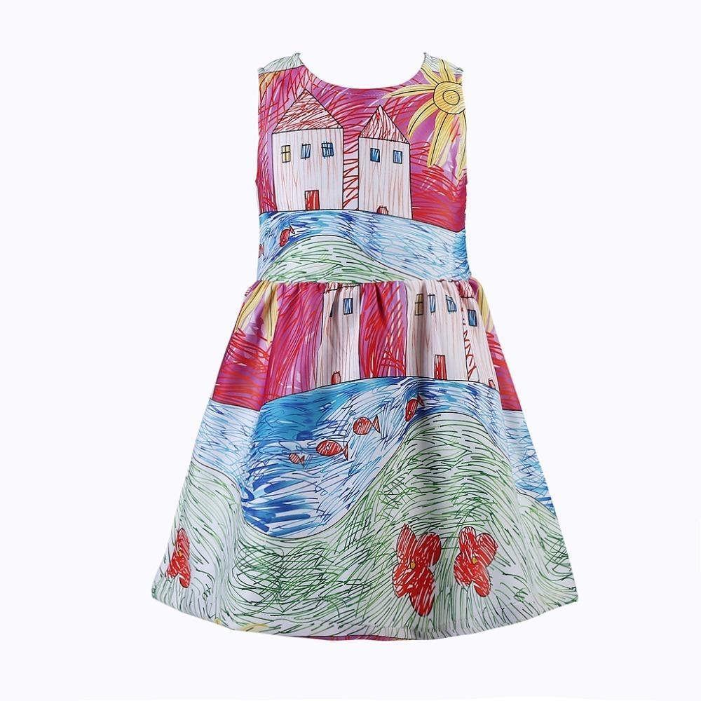 bbb720782 Compre Meninas Vestem Vestidos De Marca Vestido De Princesa Traje Da  Criança Para A Roupa Dos Miúdos Pintura Do Bebê Meninas Vestidos De Festa  Roupas De ...