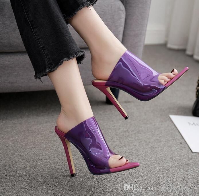 e188d7b040b Summer Hot Transparent PVC Women Sexy pointed Sandals Open Toe Clear  Crystal High Heels Slip On slipper Dress Ladies Shoes