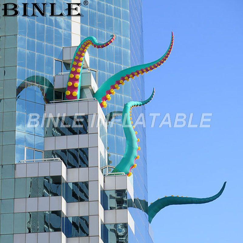 تخصيص المناطق الحضرية والفن في الهواء الطلق الخضراء العملاقة للنفخ الأخطبوط اللامسة قدم inkfish نفخ للزينة هالوين