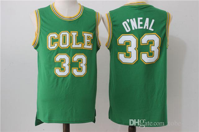 cheaper 662c7 062f3 Shaq O NEAL Basketball Jerseys 33 COLE High School Basketball Jersey  Stitched Basketball jersey Men S-2XL Free Shipping