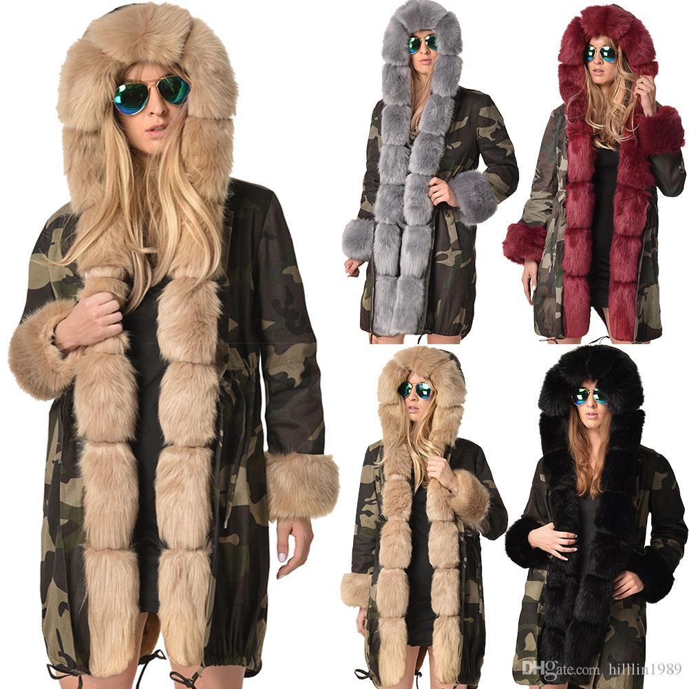 39a65940da63 2019 Fashion Winter Dust Coat Long Faux Fur Collar Hooded Camouflage Jacket  Warm Long Sleeve Female Clothing Women'S Three Quarter Coat From  Hilllin1989, ...