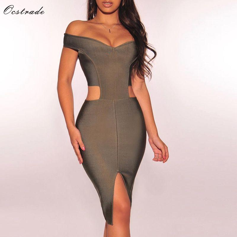 Ocstrade New Year Party 2019 Olive Green Bandage Dress Rayon Cut Out Bandage  Vestido Sexy Off Shoulder Women Dress Long Sleeve Dresses Blue Dress From  ... 655f86fc2b41
