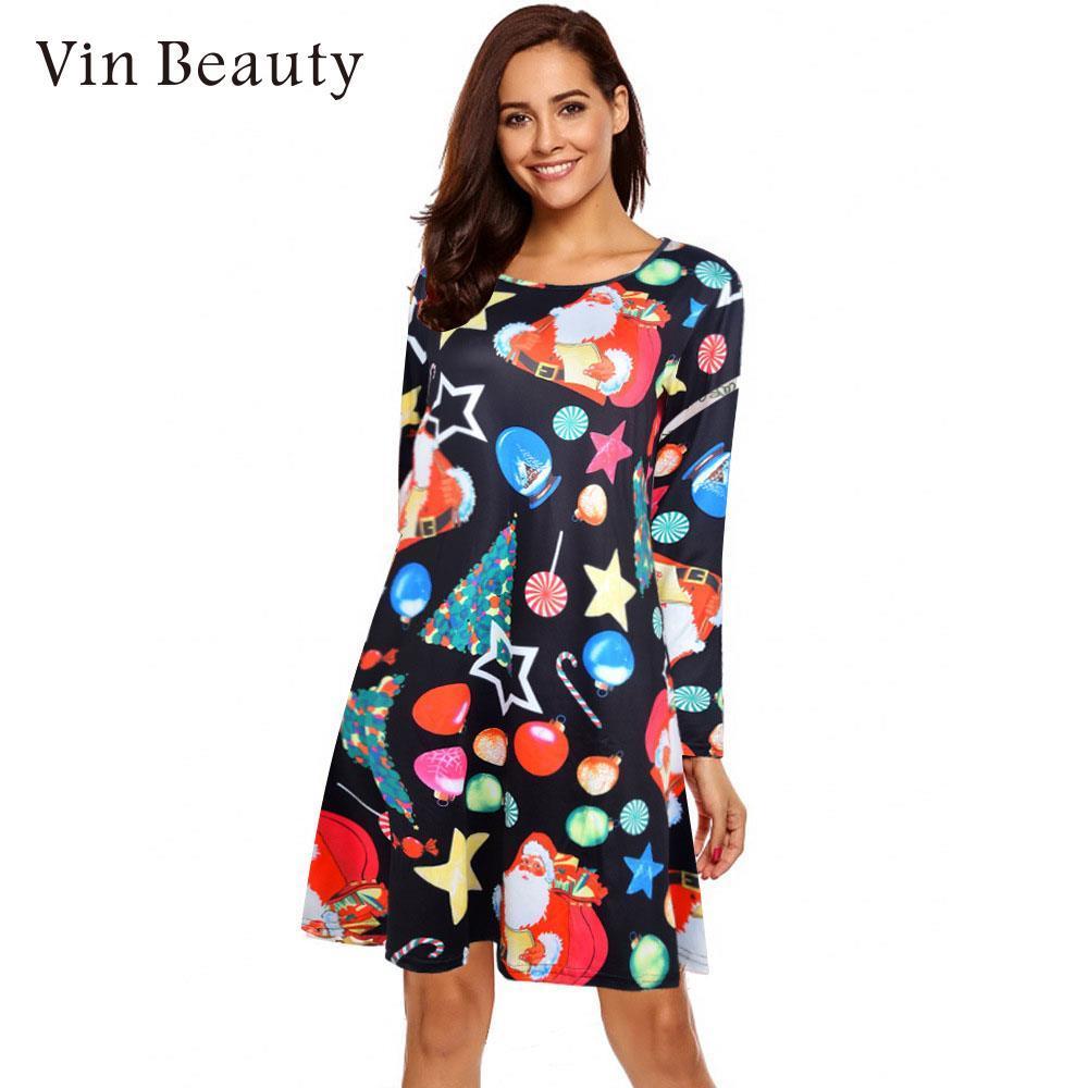 d62900851 Compre Senhora Vestido De Natal Dress Manga Comprida Suave Confortável  Pullover Poliéster Natal Senhora Respirável Feminino M Xxl De Qackwang