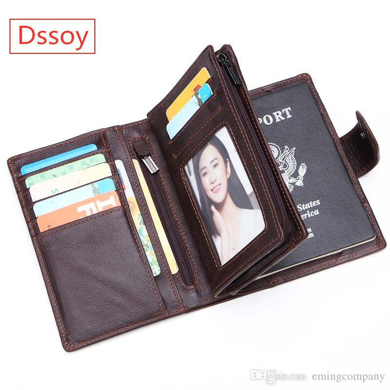 76602d452976 Luxury Men Wallet Passport Credit Card Holder Coin Purse Pouch Genuine  Leather Dssoy Brand Zippy Wallets Key Porte Monnaie Handmade Wallets Purse  Wallet ...