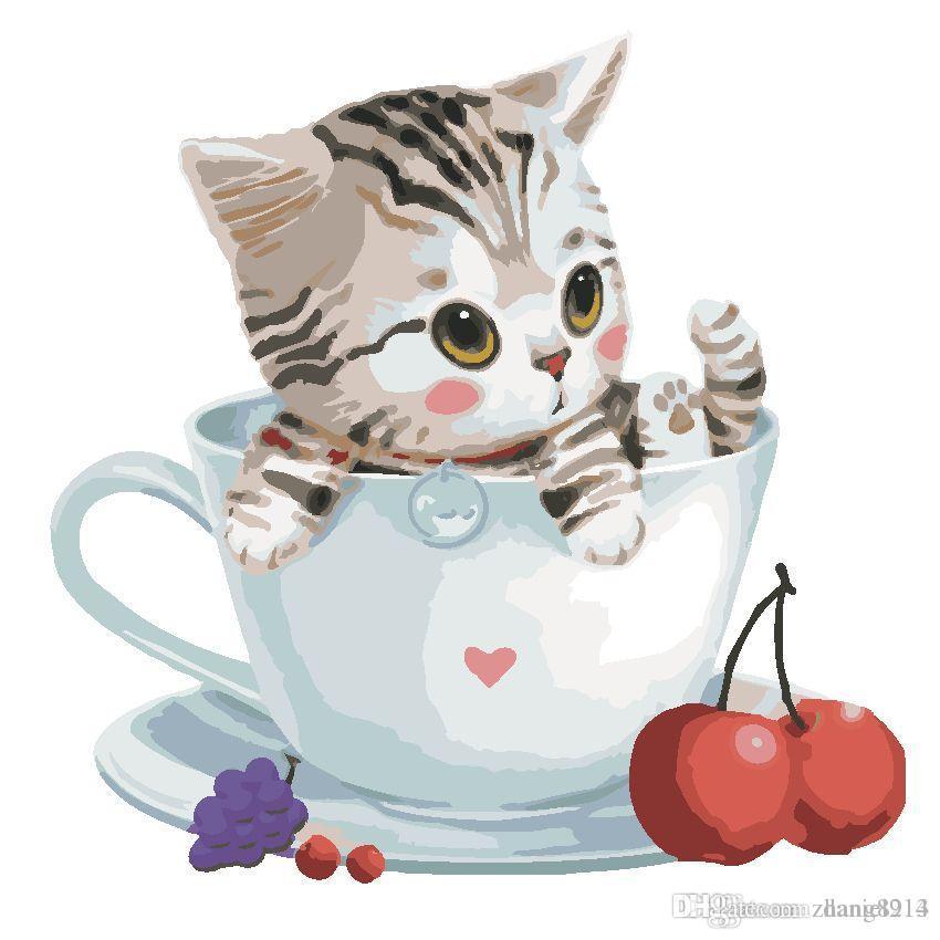 Satın Al Sevimli Kedi çay Bardağı Içinde 16x20 Inç Diy Boya Tuval
