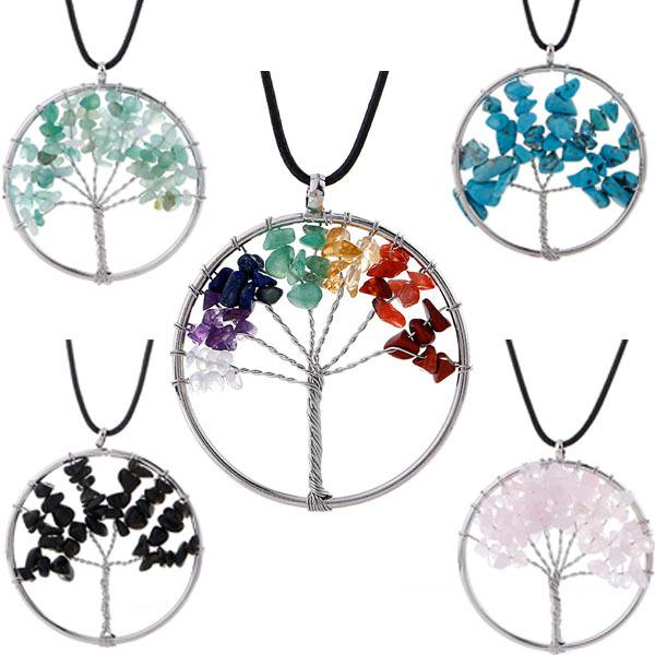 7 chakra stone Tree of Life Pendant Necklaces Natural crystal gravel Stone Charm Leather wax rope chain For women Fashion Jewelry Gift