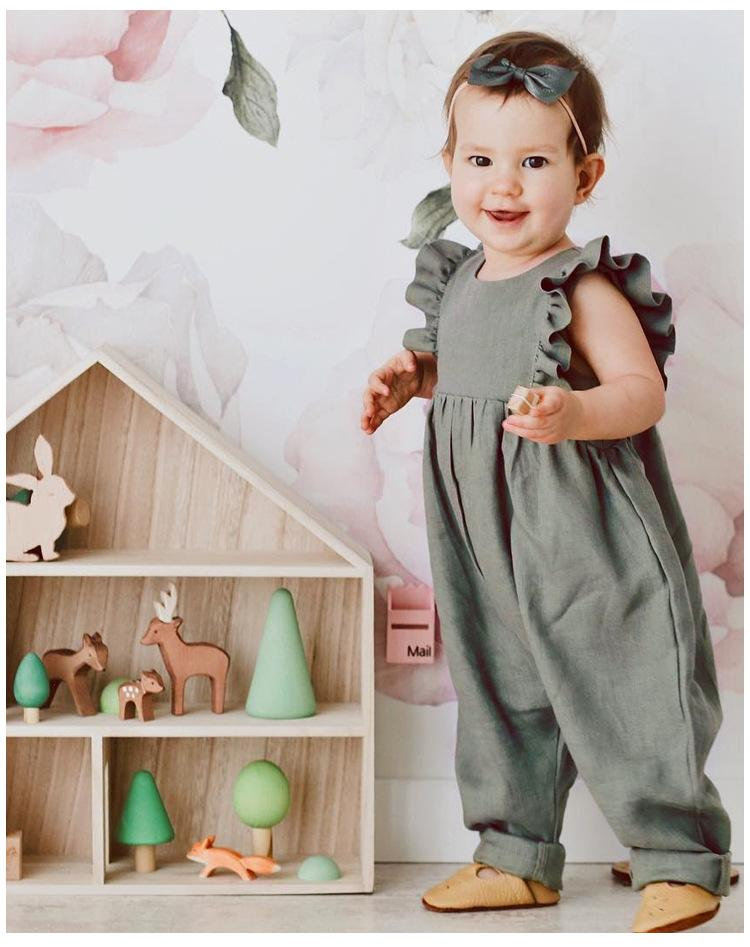 5a3083d1b8f1 Baby Girl Clothing Romper Summer Solid Color Design Round Collar ...