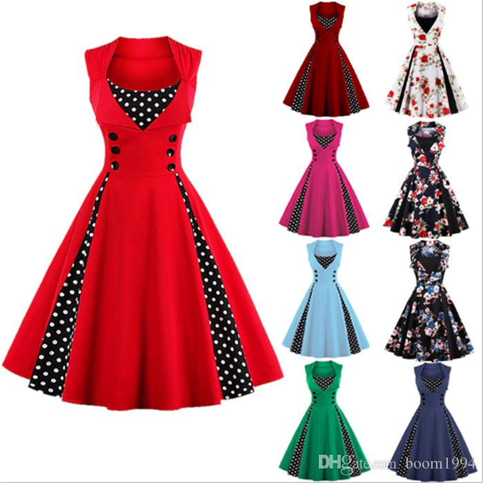 Fashion Women Robe Pin Up Dress Retro 2019 Vintage 50s 60s Rockabilly Polka Dot Wedding Party Swing Summer Female Dresses