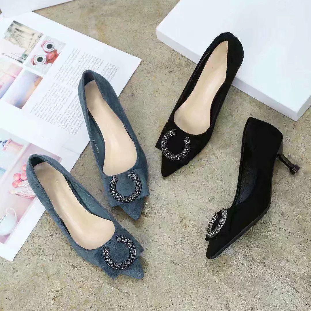 484ed2081efa New Luxury Brand Shoes Women Black 5cm High Heels Bottom Leather ...